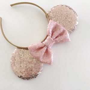 Image of Rose gold sequin mouse ears with blush sequin bow