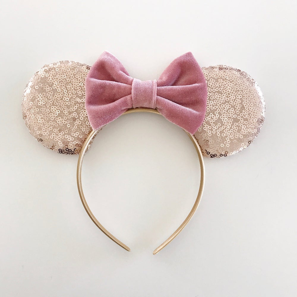 Image of Rose gold sequin mouse ears with dusty rose velvet bow