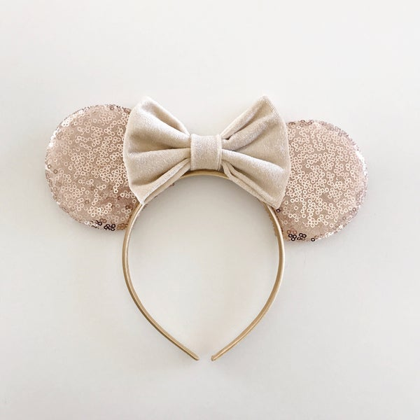 Image of Rose gold sequin mouse ears with vanilla velvet bow