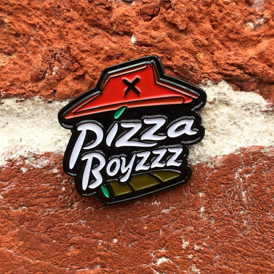 Image of XL Pizzaboyzzz squad lapel pin. 1.5 inch