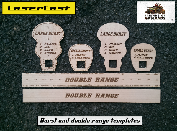Image of Gaslands Burst templates set and Double range ruler