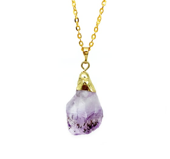 Image of Amethyst Crystal Gold Necklace