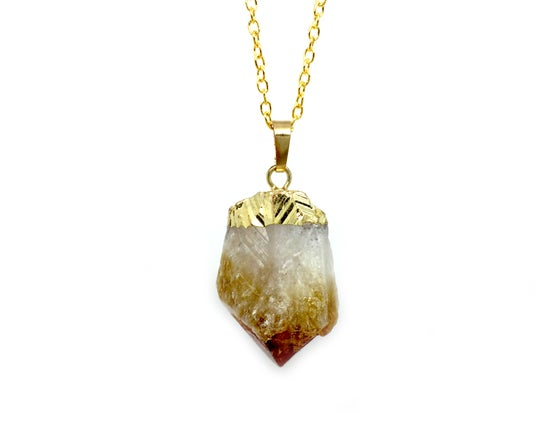 Image of Citrine Gold Gemstone Necklace