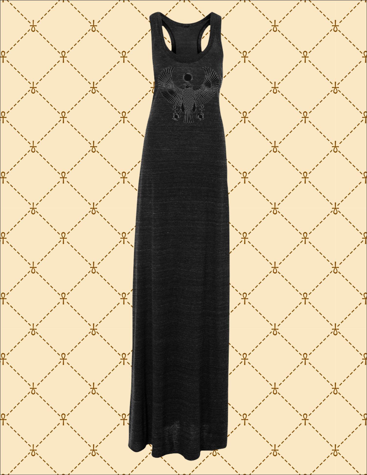 Image of WOMEN'S BLACK FOIL HRU MAXI DRESS