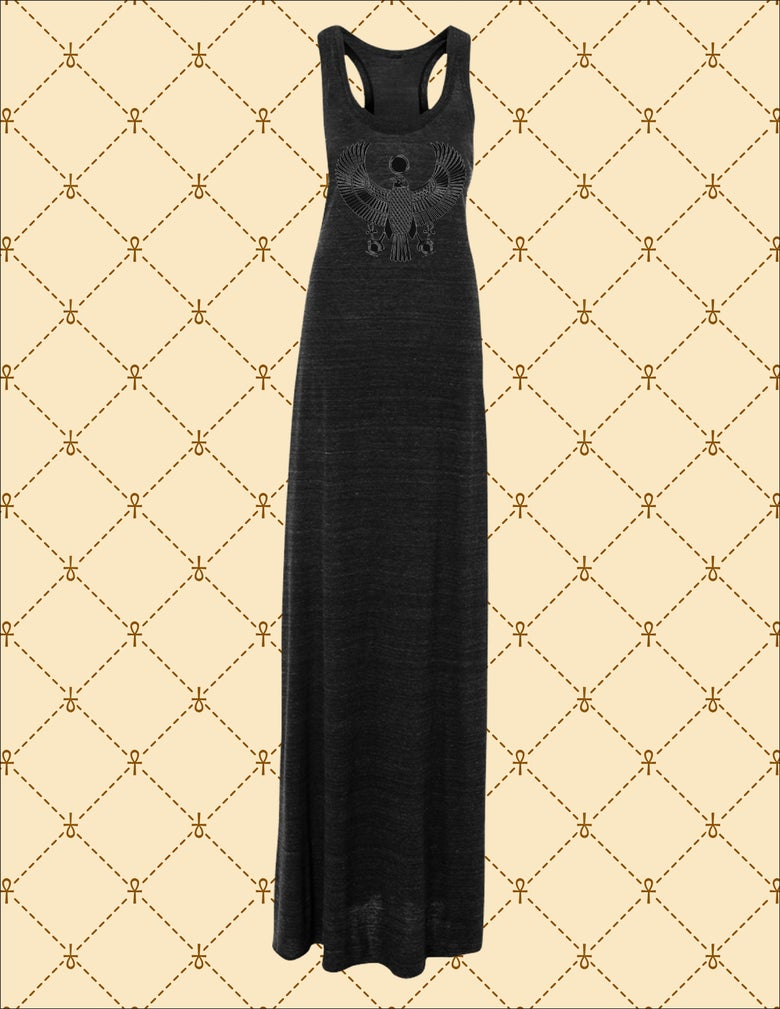 Image of WOMEN'S BLACK FOIL HRU MAXI DRESS