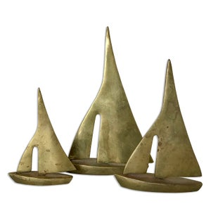 Image of VINTAGE BRASS SAILBOAT TRIO