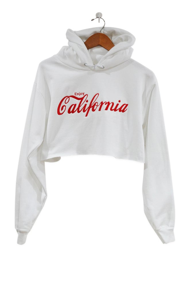 Image of Enjoy California Hoodie Crop Top - White/Red