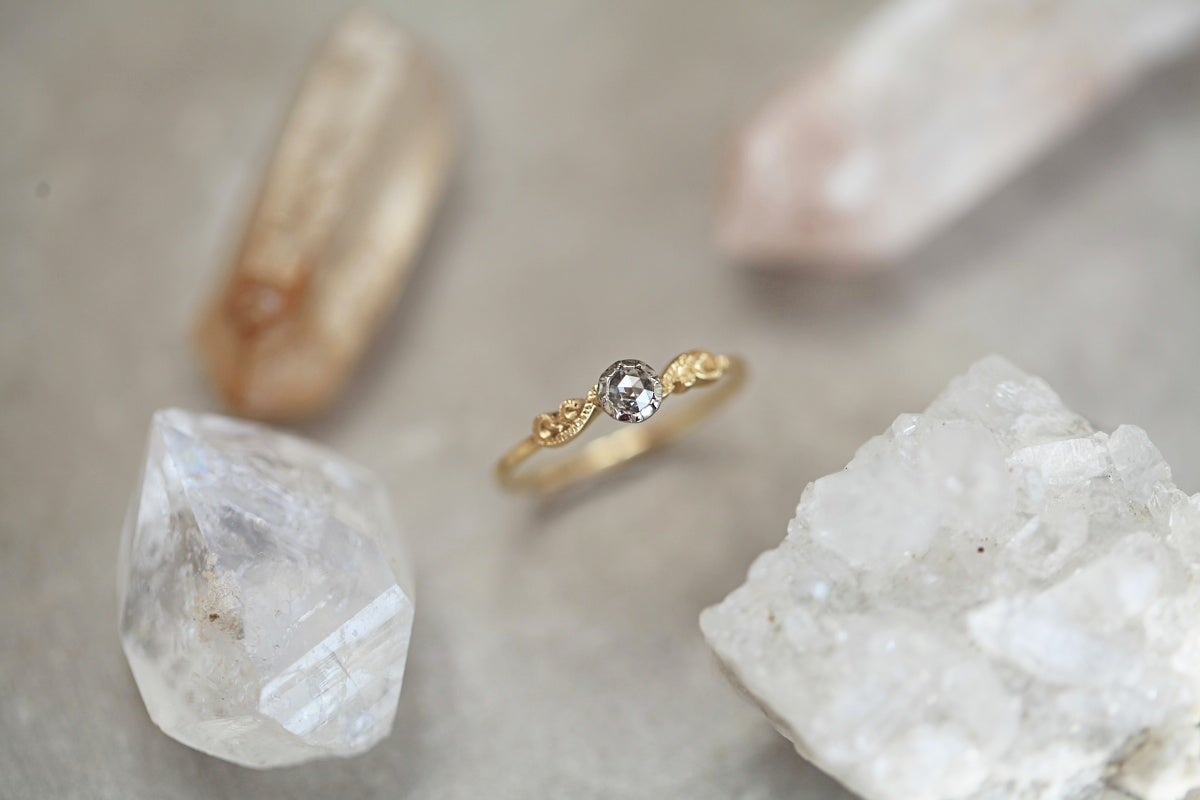 Image of *SALE* little 18ct gold & platinum, 3mm rose-cut diamond ring