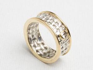 Image of Bague Canevas / Or-Argent & Diamant