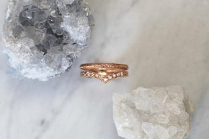 Image of 18ct Rose gold, 2mm Laurel leaf and milled edge engraved ring