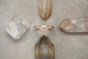 Image of *NEW* 18ct rose gold, white diamond set wishbone (chevron) ring