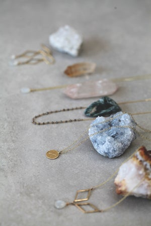 Image of *NEW* Rhombus & moonstone necklace