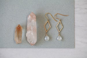 Image of *NEW* Rhombus and Moonstone teardrop earrings