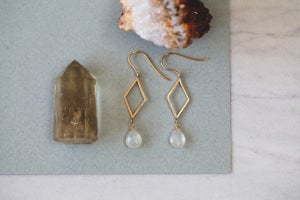 Image of Rhombus and Moonstone teardrop earrings