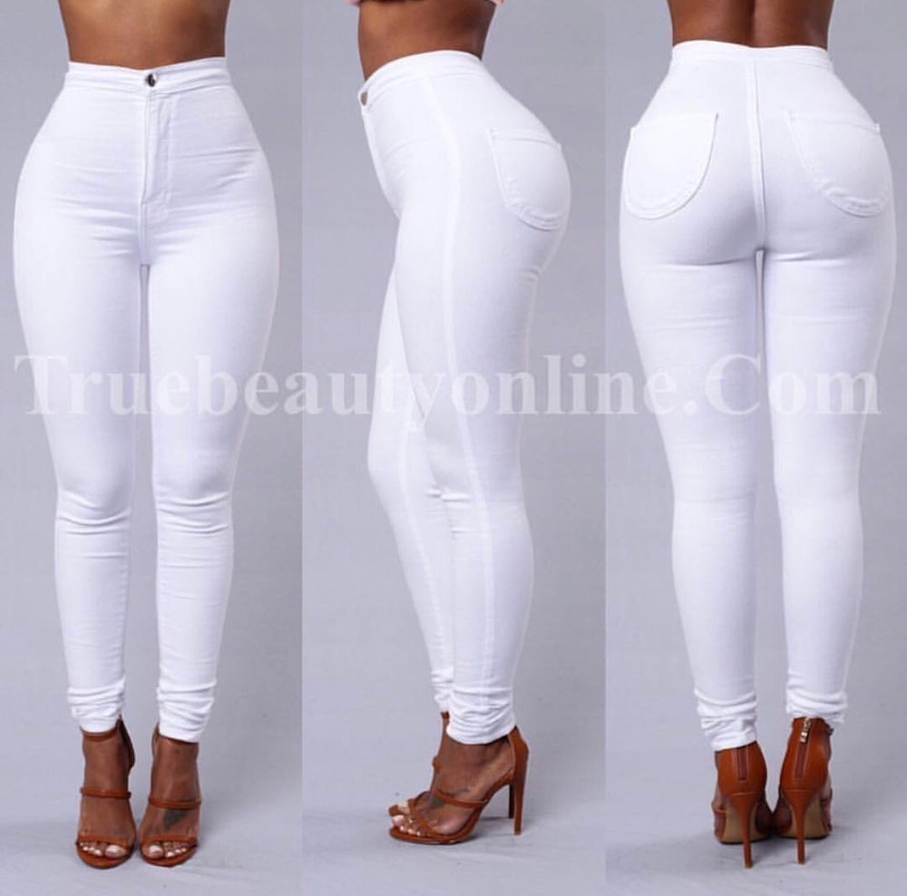 Image of White High Waist Jeans