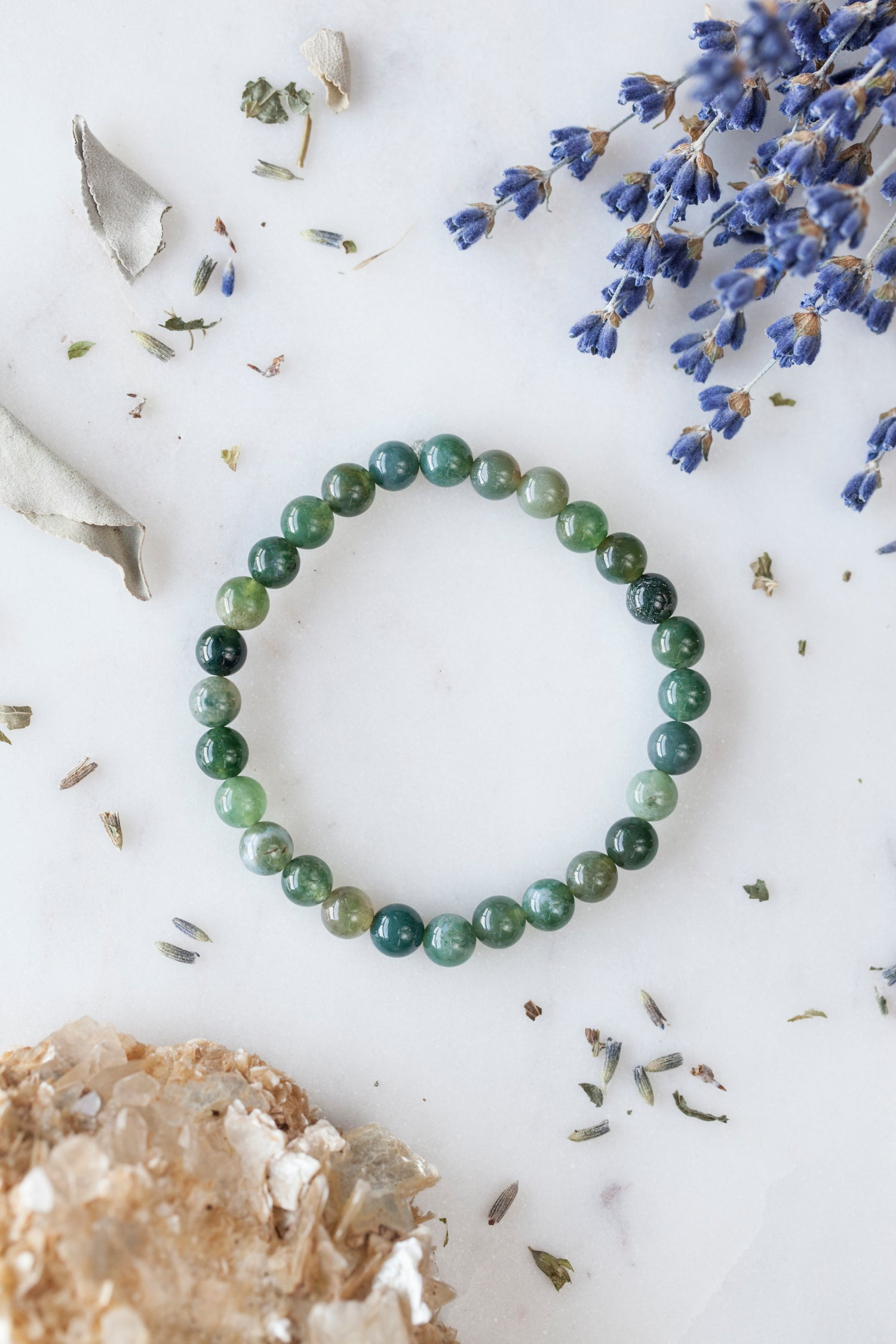 Image of Moss Agate Stacking Bracelet
