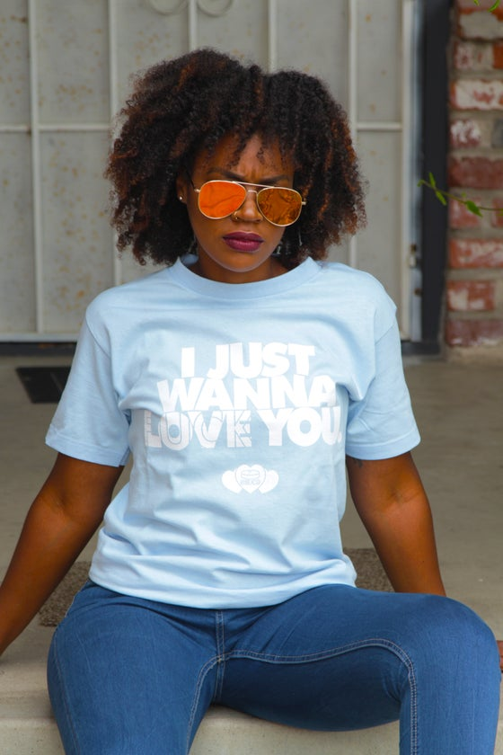 Image of Love You Tee (Red/Powder Blue)