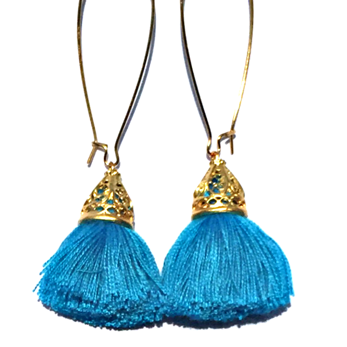 Image of LUCKY LASTS - Gold Waikiki Tassel Earrings - Pacific Blue