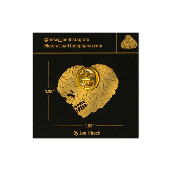 Image of Skull Heart Gold Enamel Pin