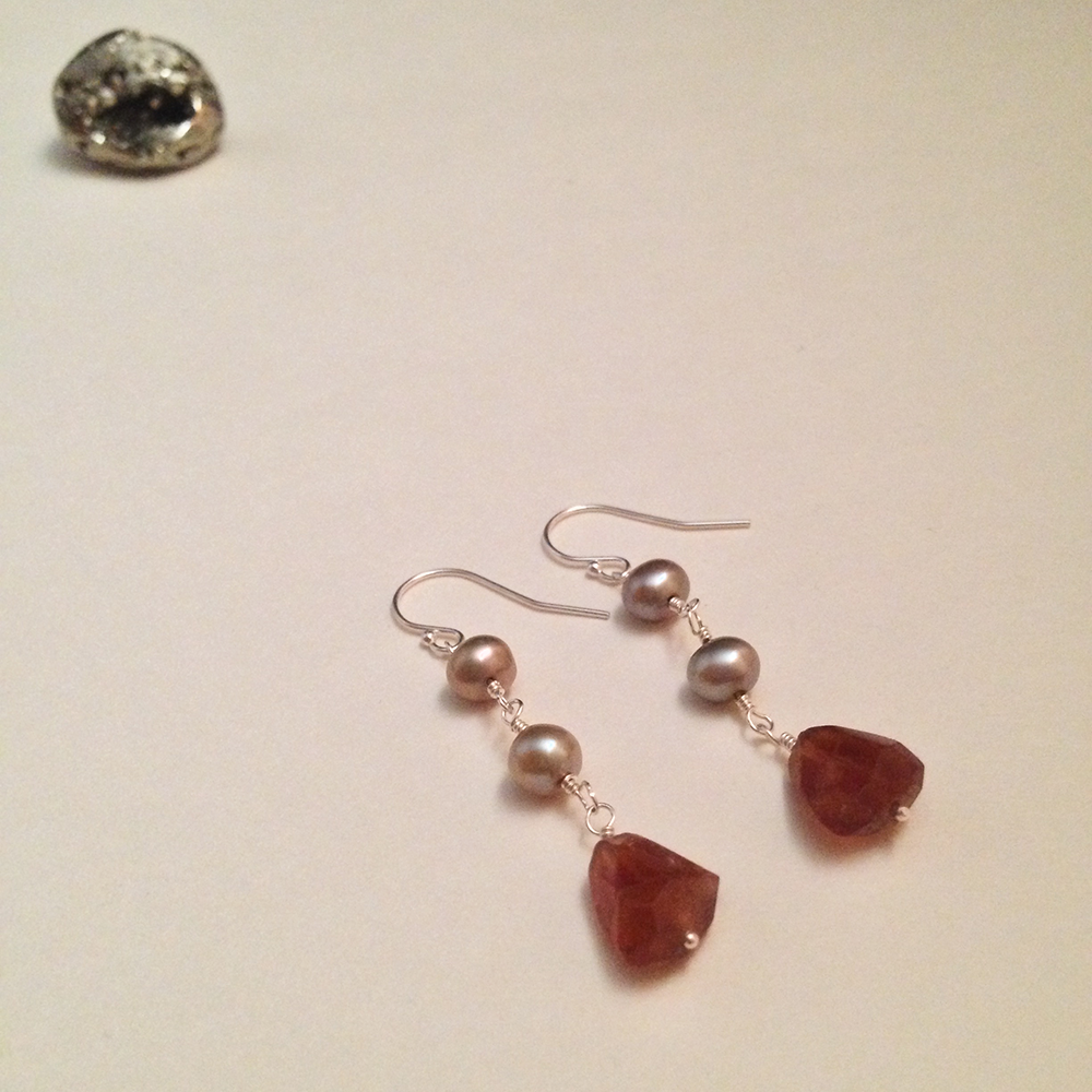 Image of Page of Cups Hessonite Garnet Freshwater Pearl Sterling Silver Earrings | Handmade Tarot Jewelry