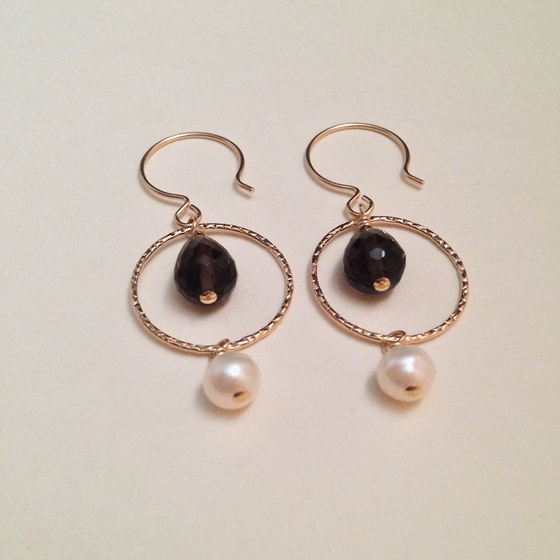 Image of Nine of Coins Smoky Quartz White Freshwater Pearl Gold Filled Earrings | Handmade Avant Garde Witch