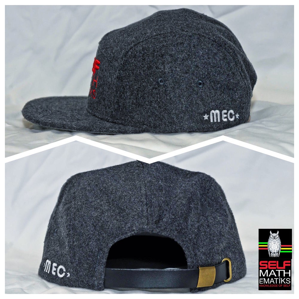 "Image of ""WOOL BANDIT"" 5 PANEL, 100% WOOL, GENUINE LEATHER STRAP BACK ""THINKIN' CAP"""