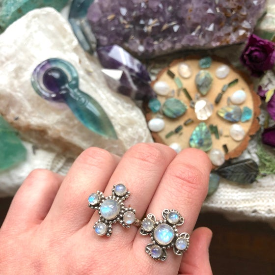 Image of Rainbow Moonstone Divine Feminine Sterling Silver Rings