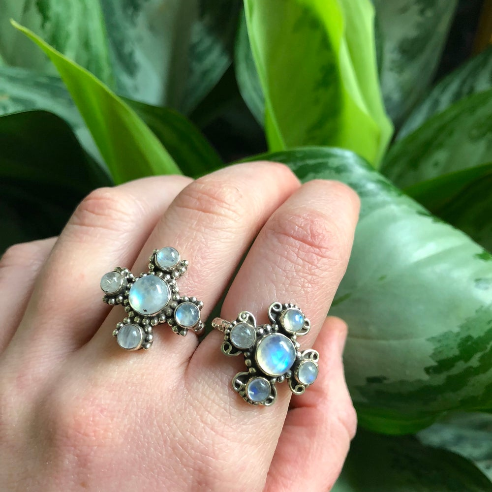 Image of Rainbow Moonstone Divine Feminine Sterling Silver Rings