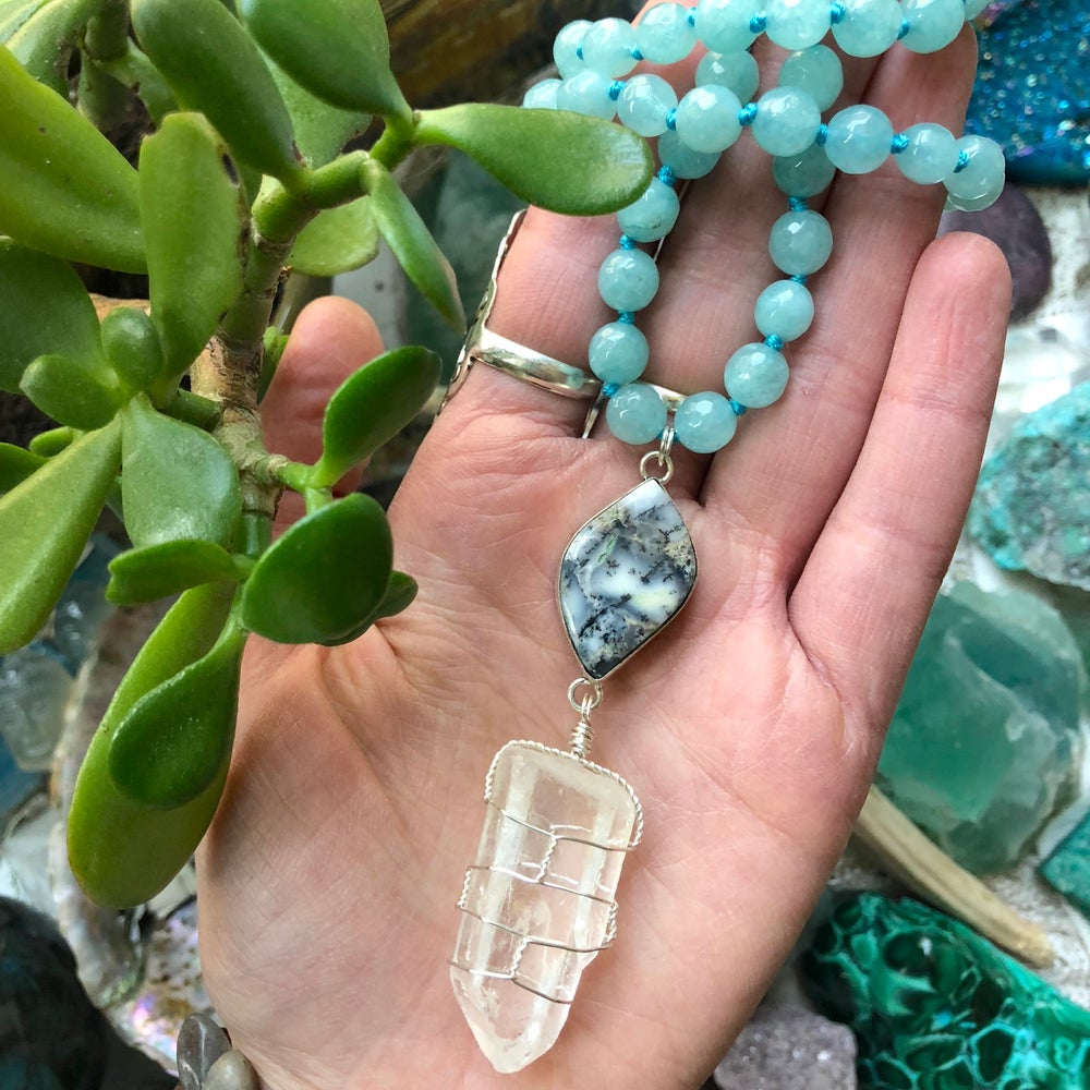 "Image of ""Aquatic Daydreams"" Hand-Knotted Aquamarine, Sterling Dendritic Opal & Clear Quartz Necklace"