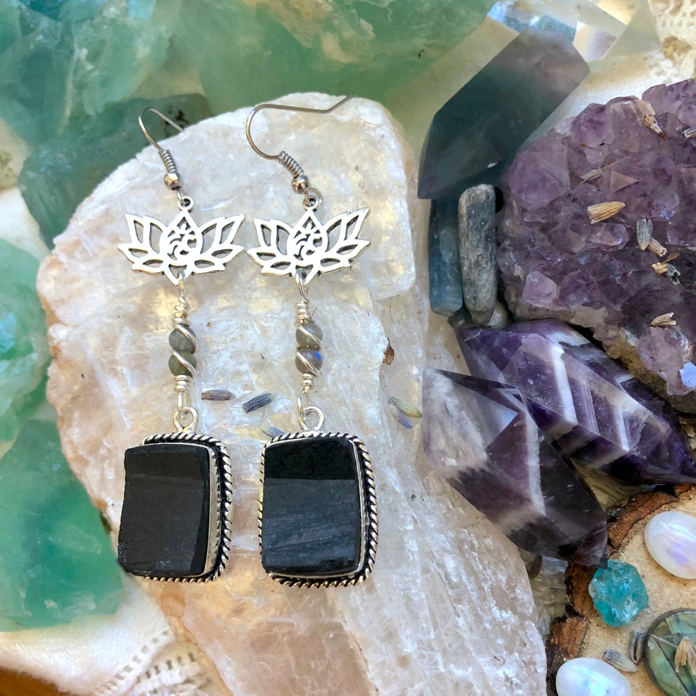 "Image of ""Divine, Protected & Aligned"" Black Tourmaline & Labradorite Lotus Earrings"