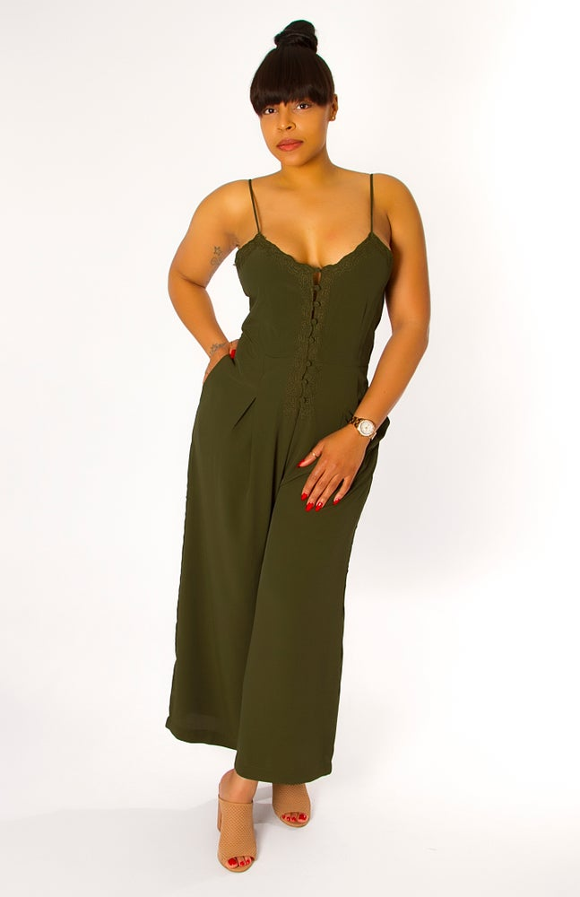 Image of Classic Olive Green Jumpsuit