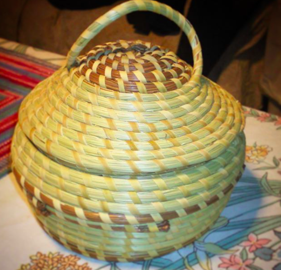 Image of Covered Dome Candy Dish w/ Pine Needle Accents