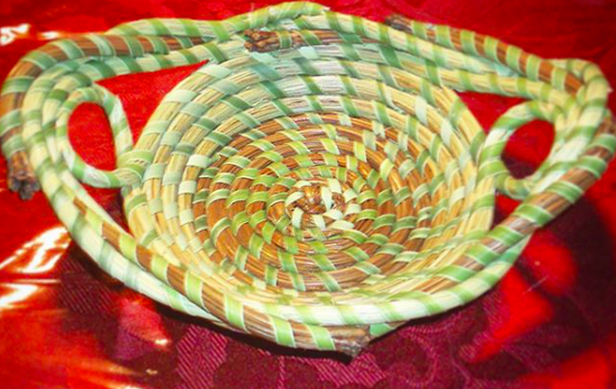 Image of Small Accent Basket w/ Braided Rim