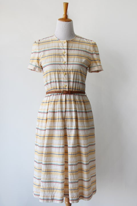 Image of SOLD Rainbow Striped Button Down Pockets Dress