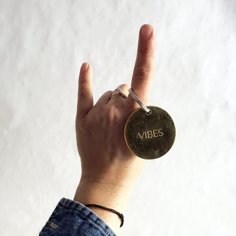 Image of VIBES / LARGE BRASS KEYCHAIN