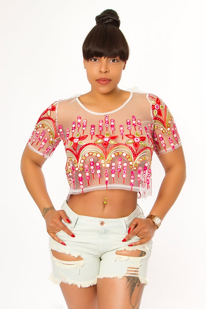 Image of White Flowery Top
