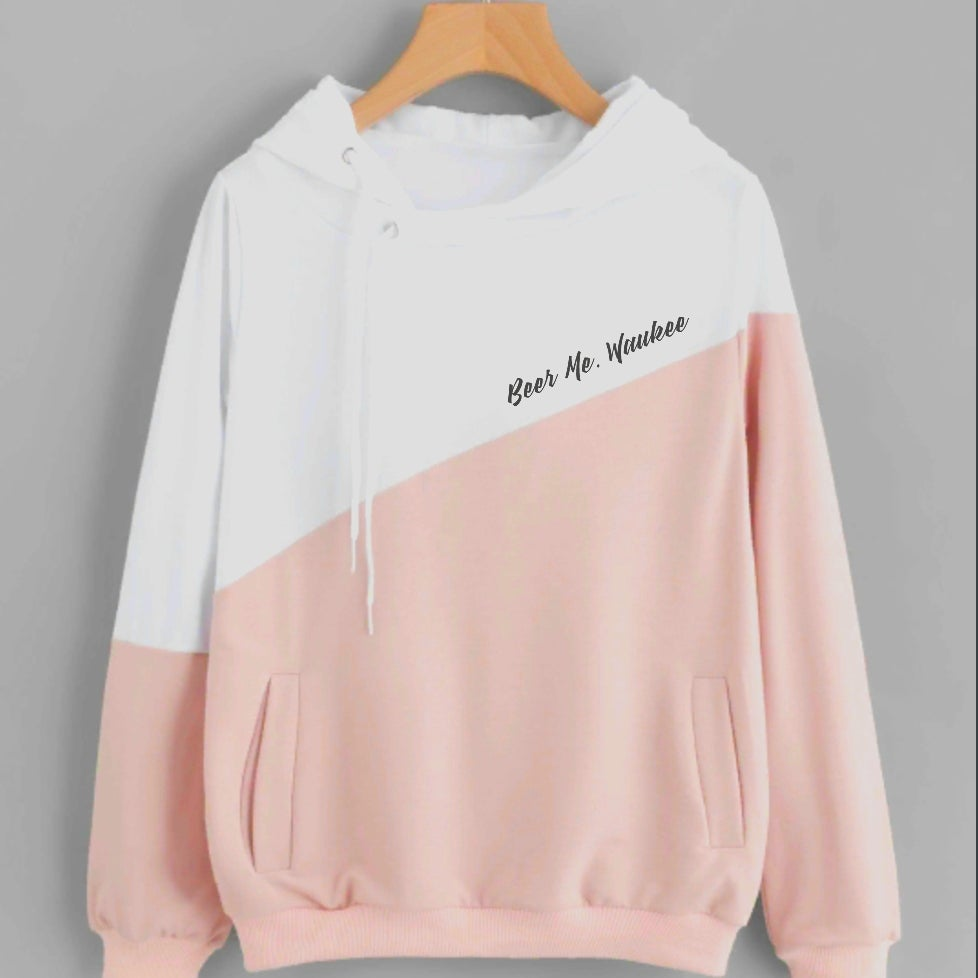 Image of Pink & White Split Womens Hoodie