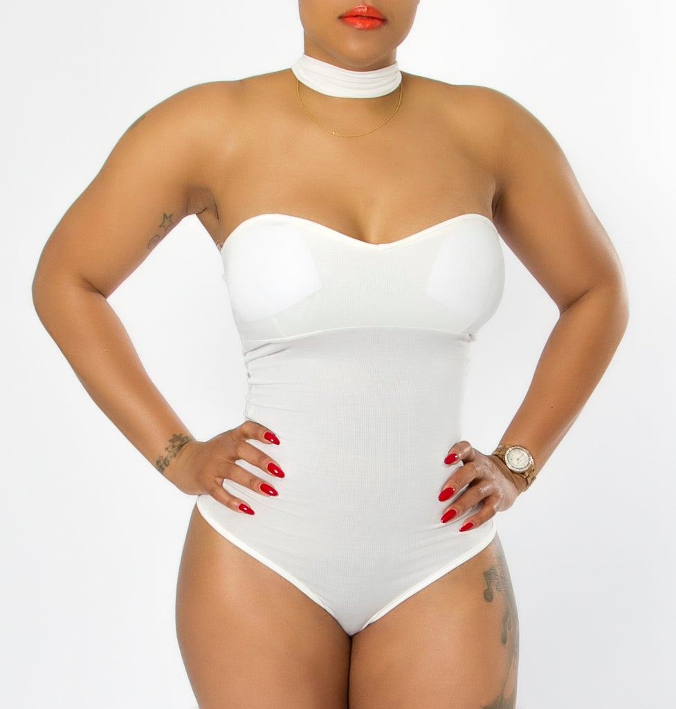 Image of White Choker Bodysuit