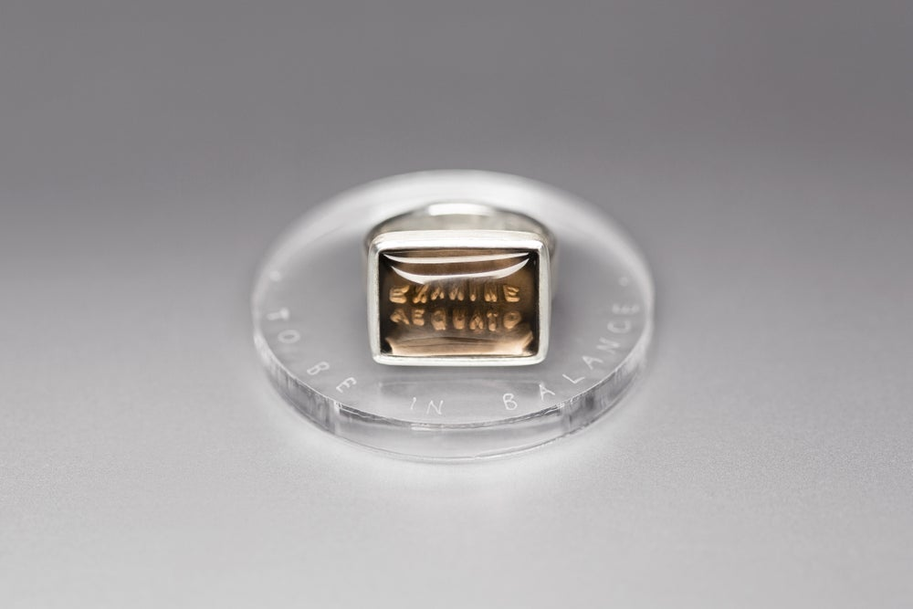 """Image of """"To be in balance"""" silver ring for men with smoky quartz  · EXAMINE AEQUATO ·"""