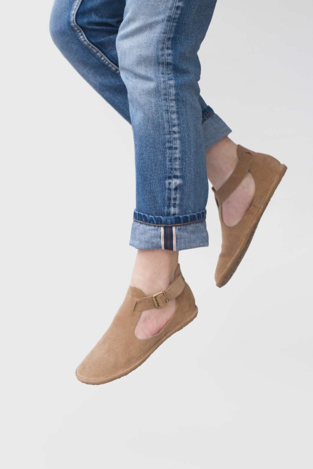 Image of Cut-Out in Textured Beige Suede