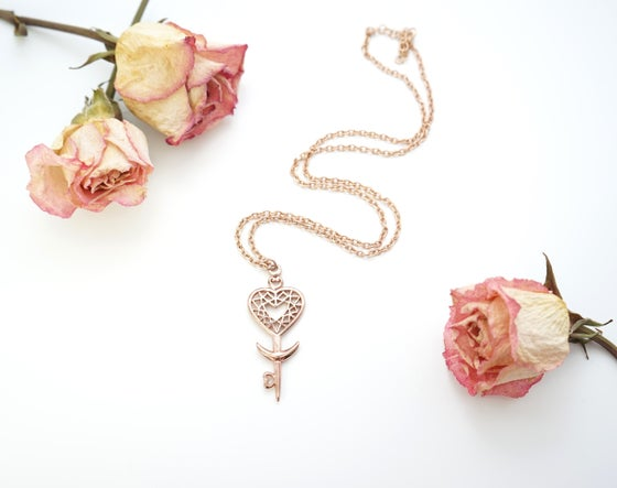 Image of Heart Space Key Pendant in Rose Gold