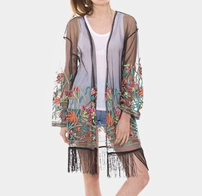 Image of Floral Fringe Kimono