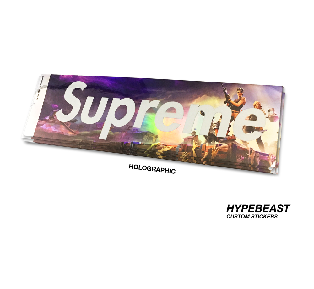Image of custom fortnite x supreme holographic stickers