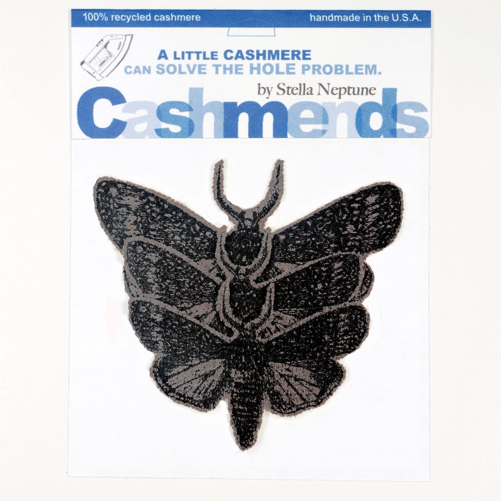 Image of Iron-on Cashmere Moths - Dark Taupe Brown