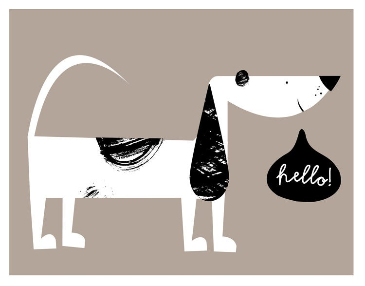 Image of Hello! Pup Print - Language Class Friends Giclee