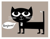 Image of Bonjour! Kitty French Black Cat Giclee - Language Friends Print - New!