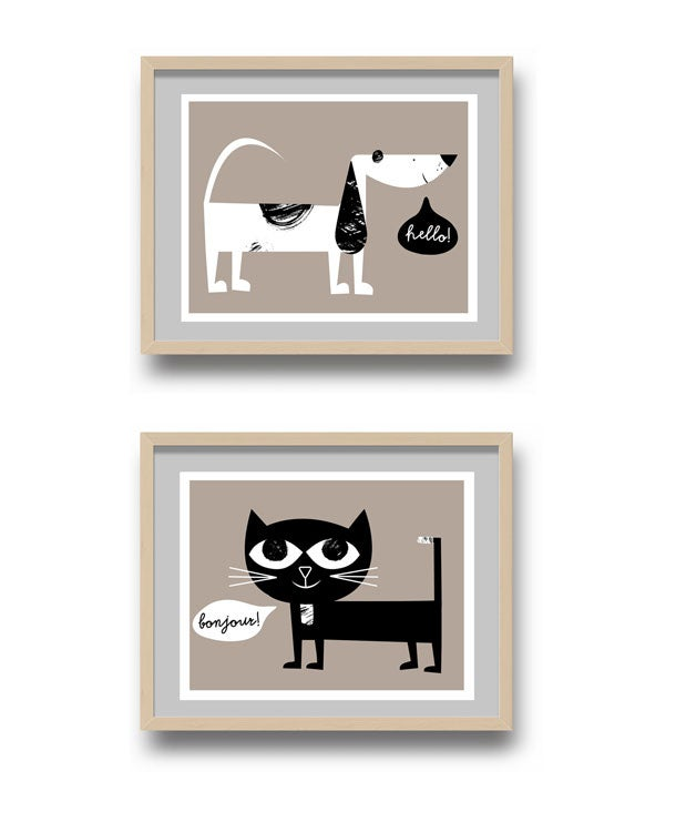 Image of Language Class Hello! Pup & Bonjour! Kitty Giclee Print Set - New!