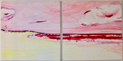 """Image of Ditch Plains, Montauk, 30"""" x 30"""" x 2 paintings"""