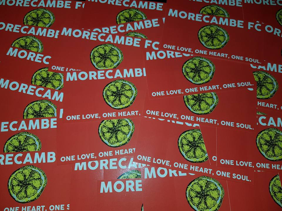 Image of Morecambe FC One Love 25 pack of Football Ultras Stickers Brand New. 10x5cm.
