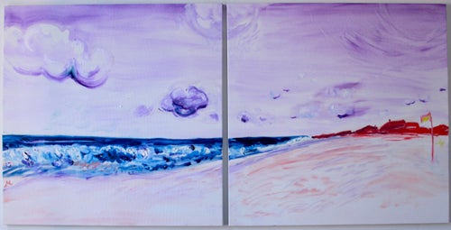 """Image of Ditch Plains II, Montauk, 30"""" x 30"""" x 2 paintings"""